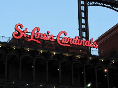 St. Louis Cardinals lit up lettering from stadium