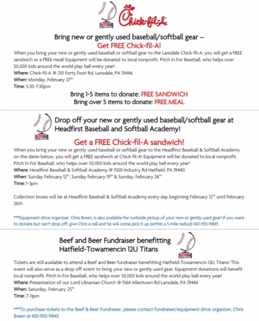 Gently Used Baseball & Softball Equipment Dropoff At Chick-Fil-A