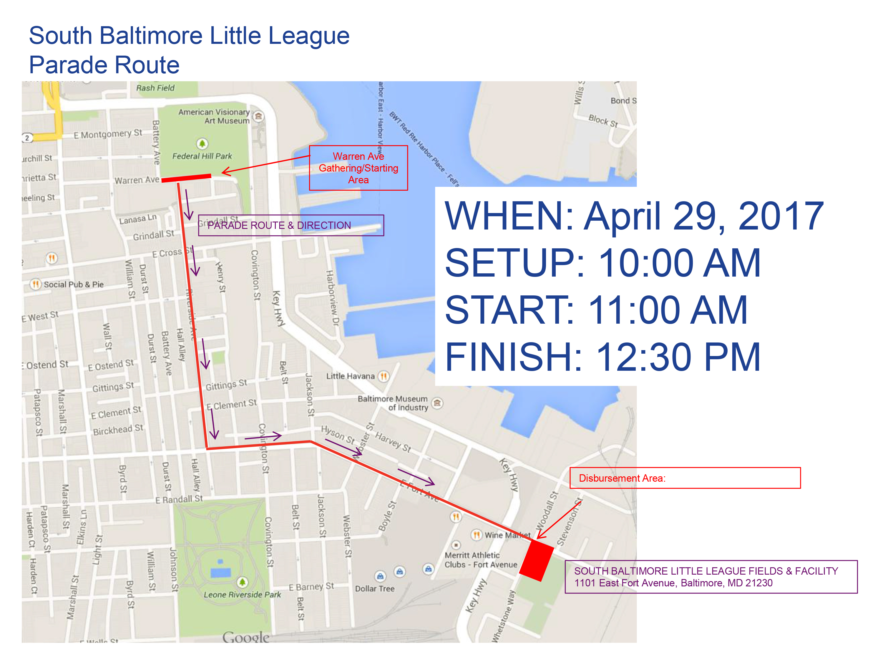 South Baltimore Little League Parade April 29, 2017!
