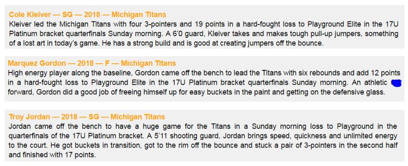MI Titans 17U falls short in Elite 8 at NY2LA Invitational but fight of team and performance recognized