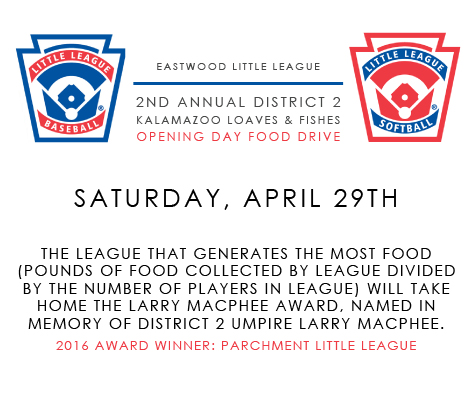 Opening Day Food Drive for Michigan D2 Little League