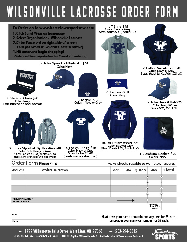Get Your 2018 Wilsonville Lacrosse Spirit Wear!!