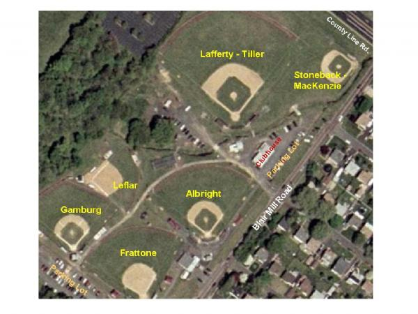 Aerial View of the Little League Complex, with Field Names