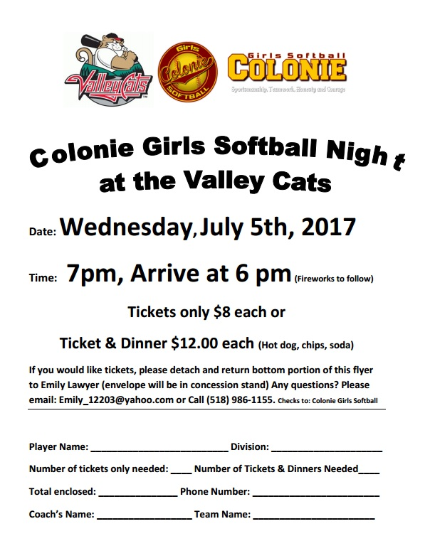 Colonie Girls Softball Night at the Valley Cats