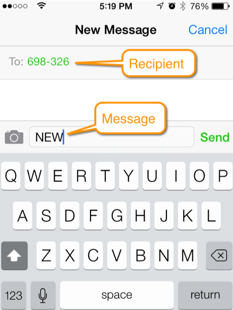 screen shot of text messaging example