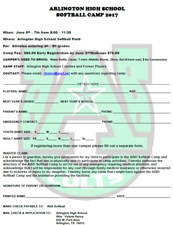 ARLINGTON HIGH SCHOOL SOFTBALL CAMP 2017 - June 5th - 7th