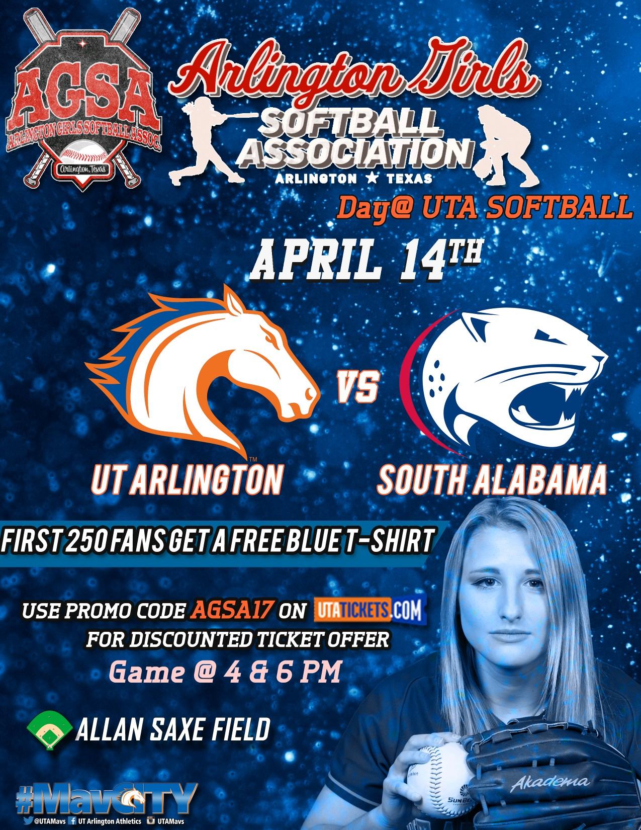 Don't miss AGSA Day at UTA Softball April 14th at Allan Saxe Field - Discount Tickets Available